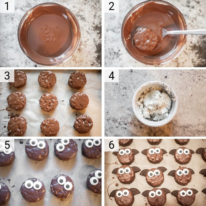 process shots of how to make bat treats
