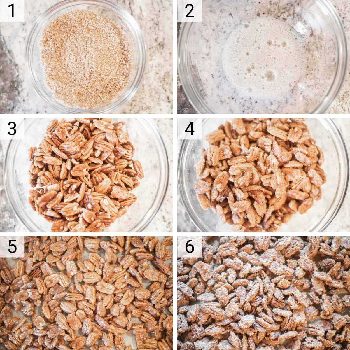 process shots of how to make candied pecans