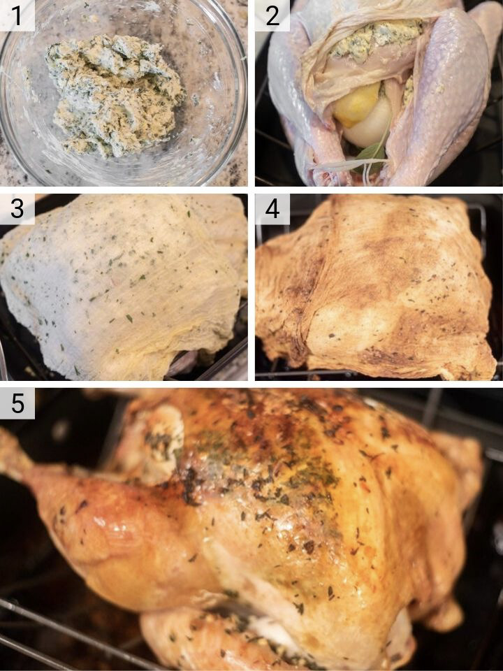 process shots of how to make herb roasted turkey