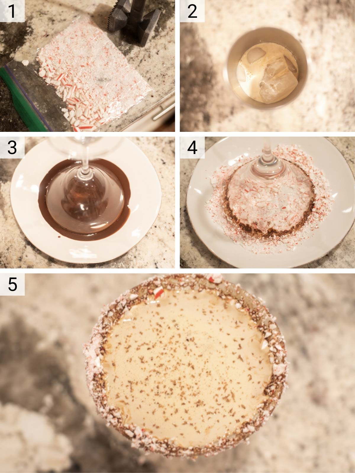 process shots of how to make chocolate peppermint martini