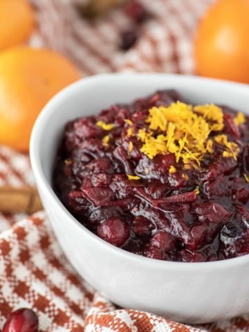 cranberry sauce in white bowl
