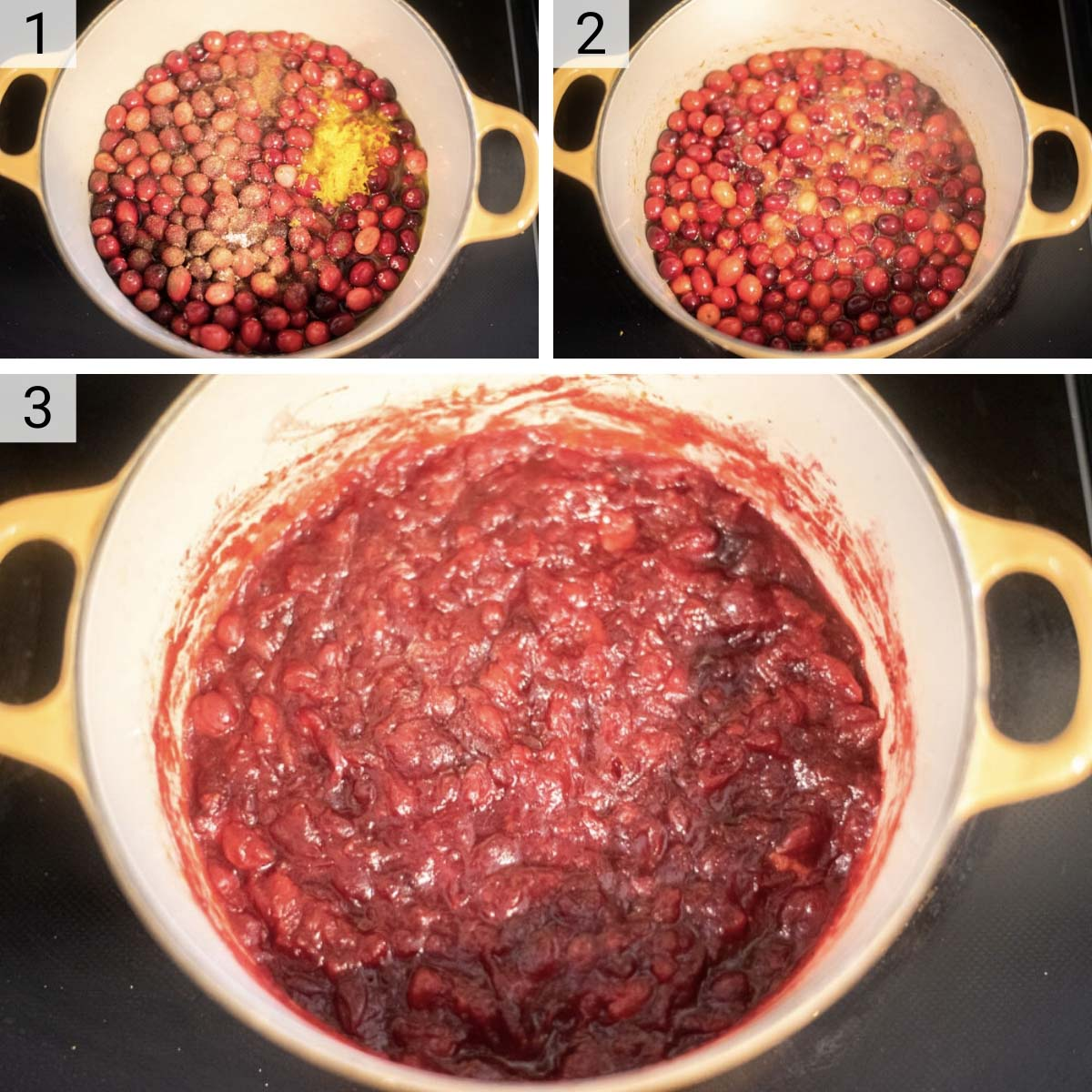 process shots of how to make cranberry sauce