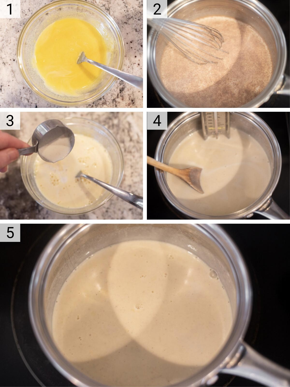process shots of how to make homemade eggnog