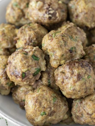 homemade meatballs in shallow dish