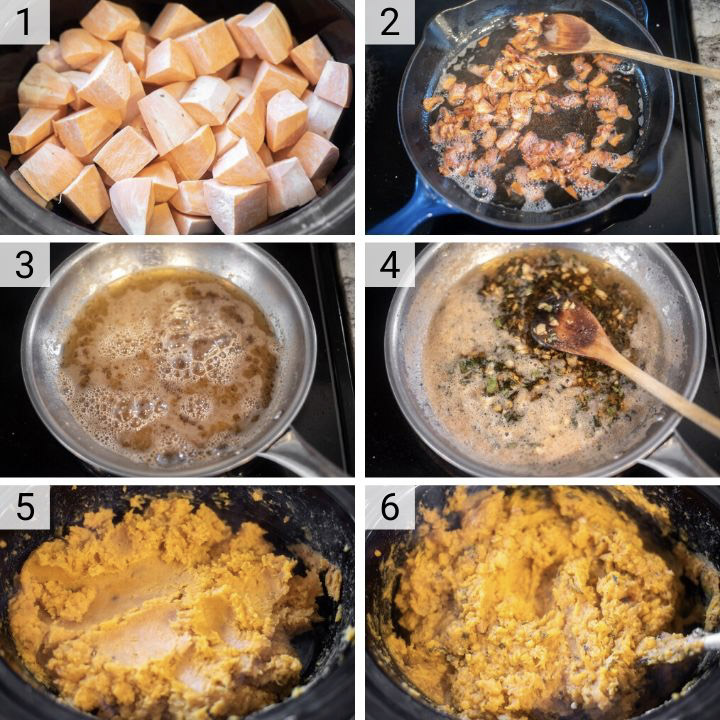 process shots of how to make slow cooker mashed sweet potatoes