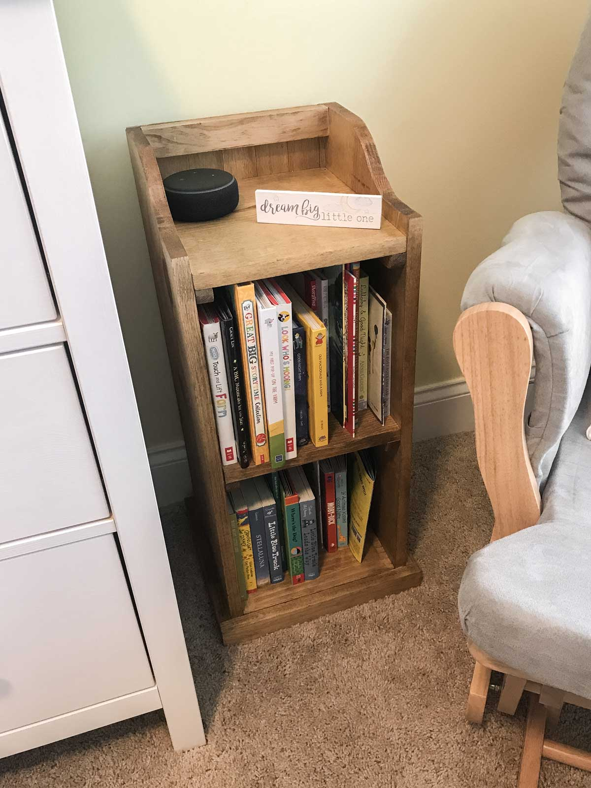 bookshelf end table with books