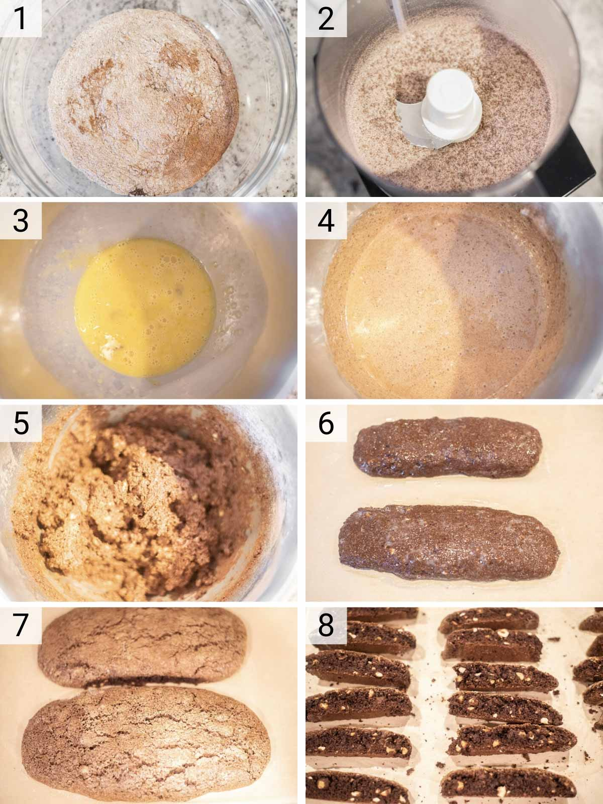 process shots of how to make chocolate biscotti