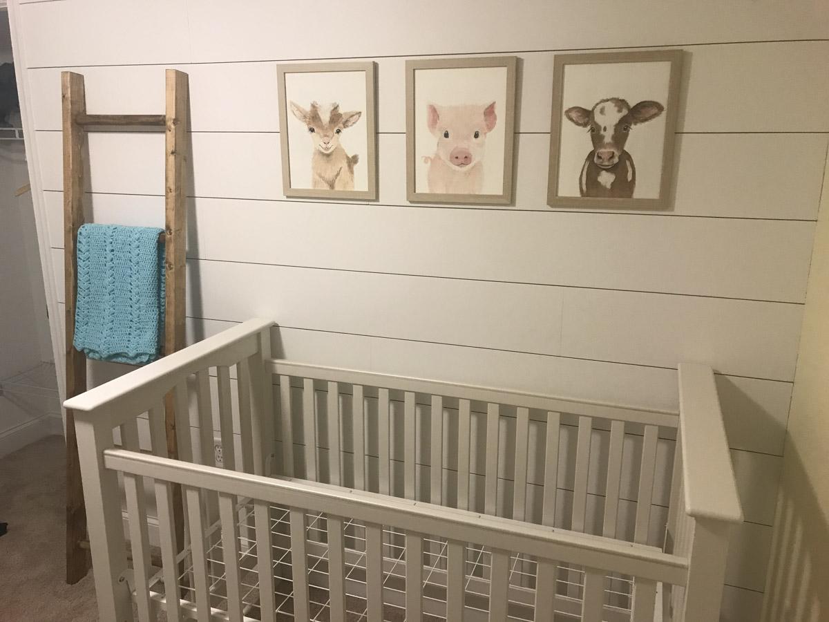 furniture put against DIY shiplap wall