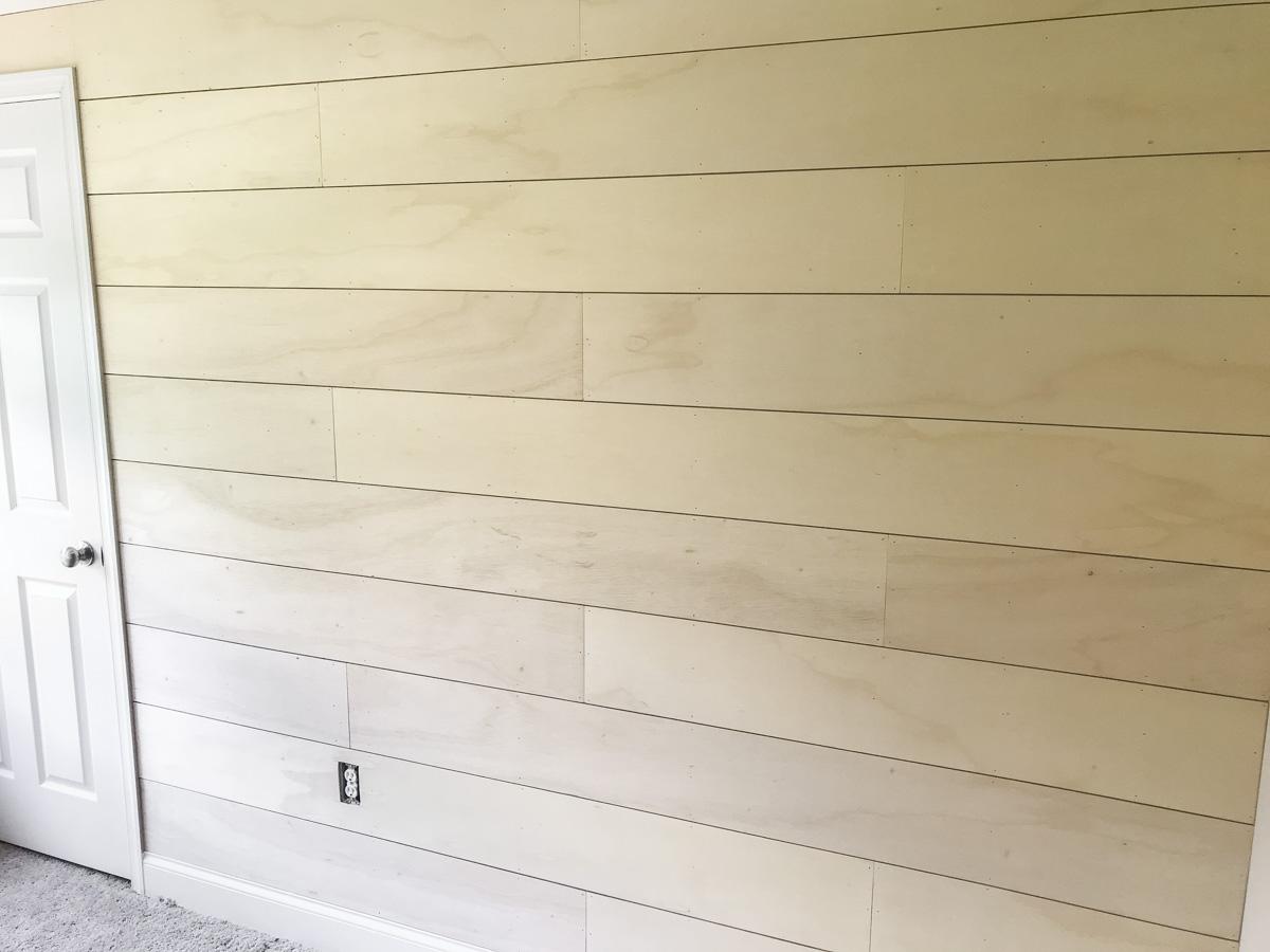 finish and sand DIY shiplap