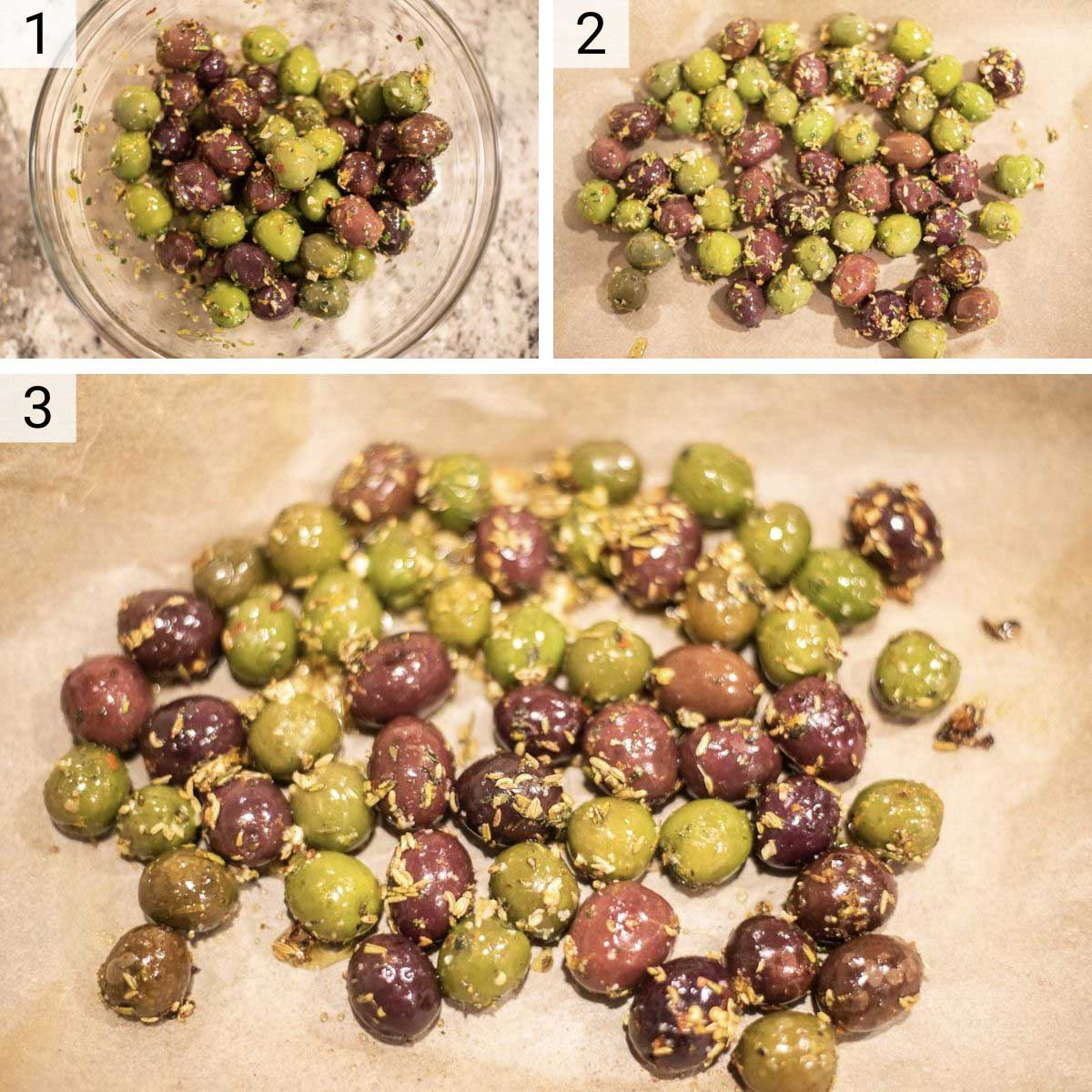process shots of how to make marinated olives