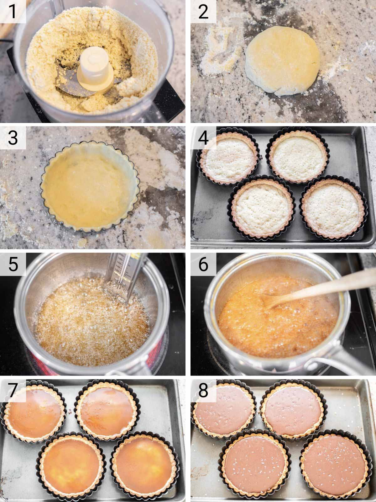 process shots of how to make chocolate caramel tart