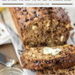 healthy banana bread sliced with butter
