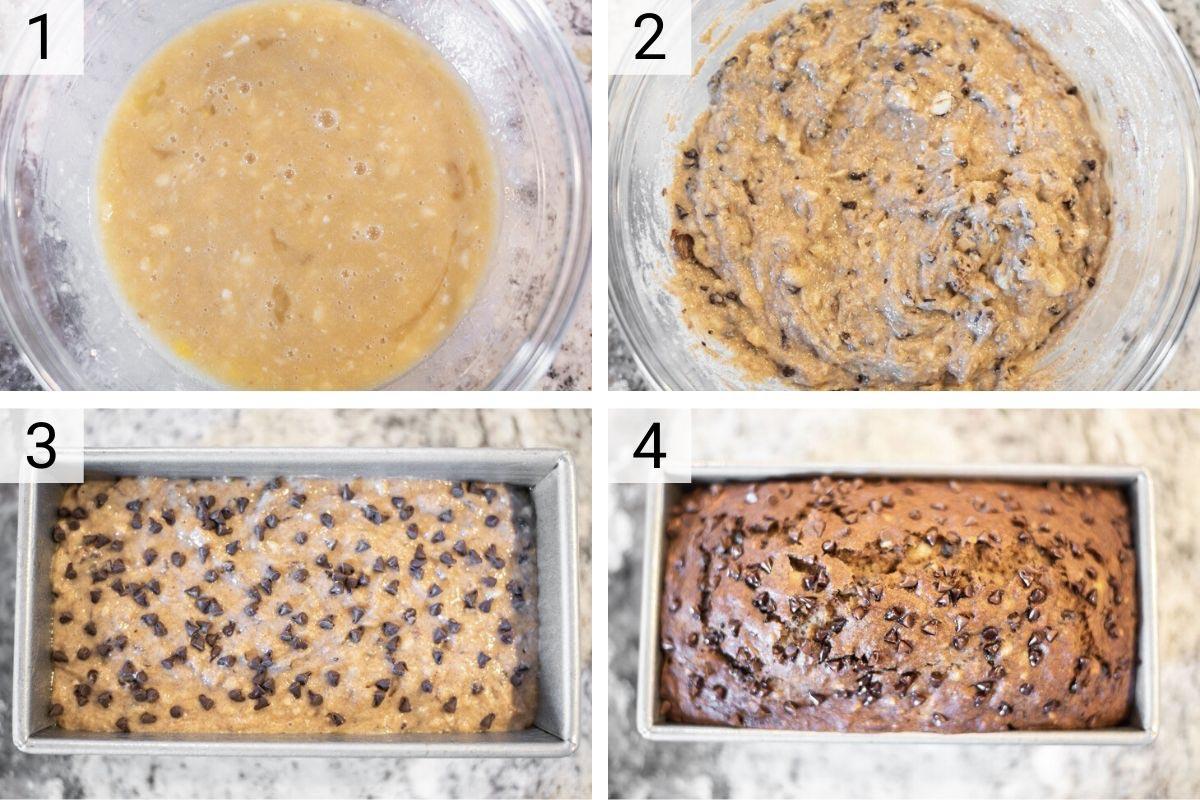 process shots of how to make whole wheat banana bread