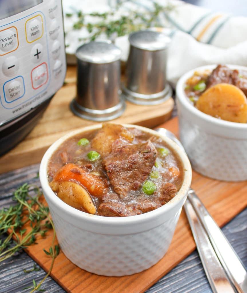 Instant Pot Guinness beef stew in white ramekin