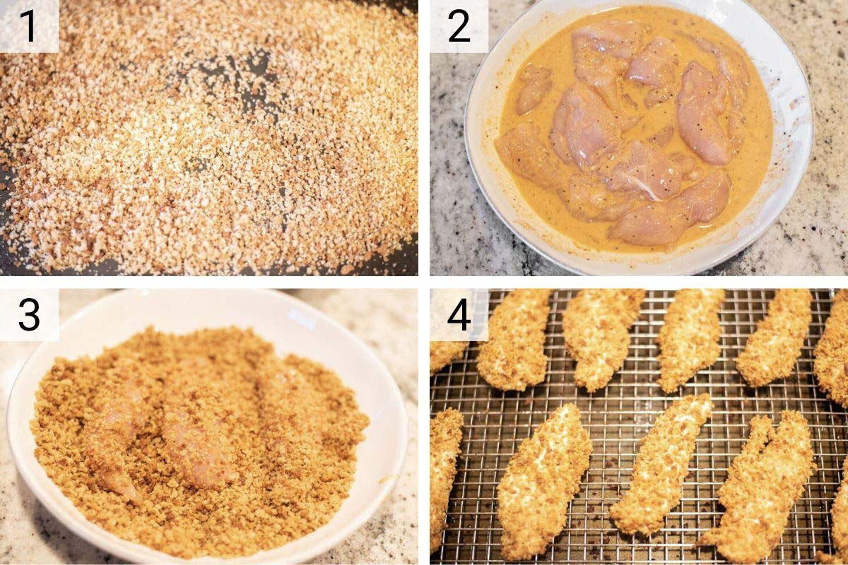 process shots of how to make oven baked chicken tenders
