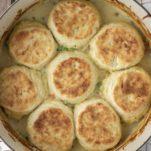 overhead shot of chicken biscuit pot pie in Dutch oven