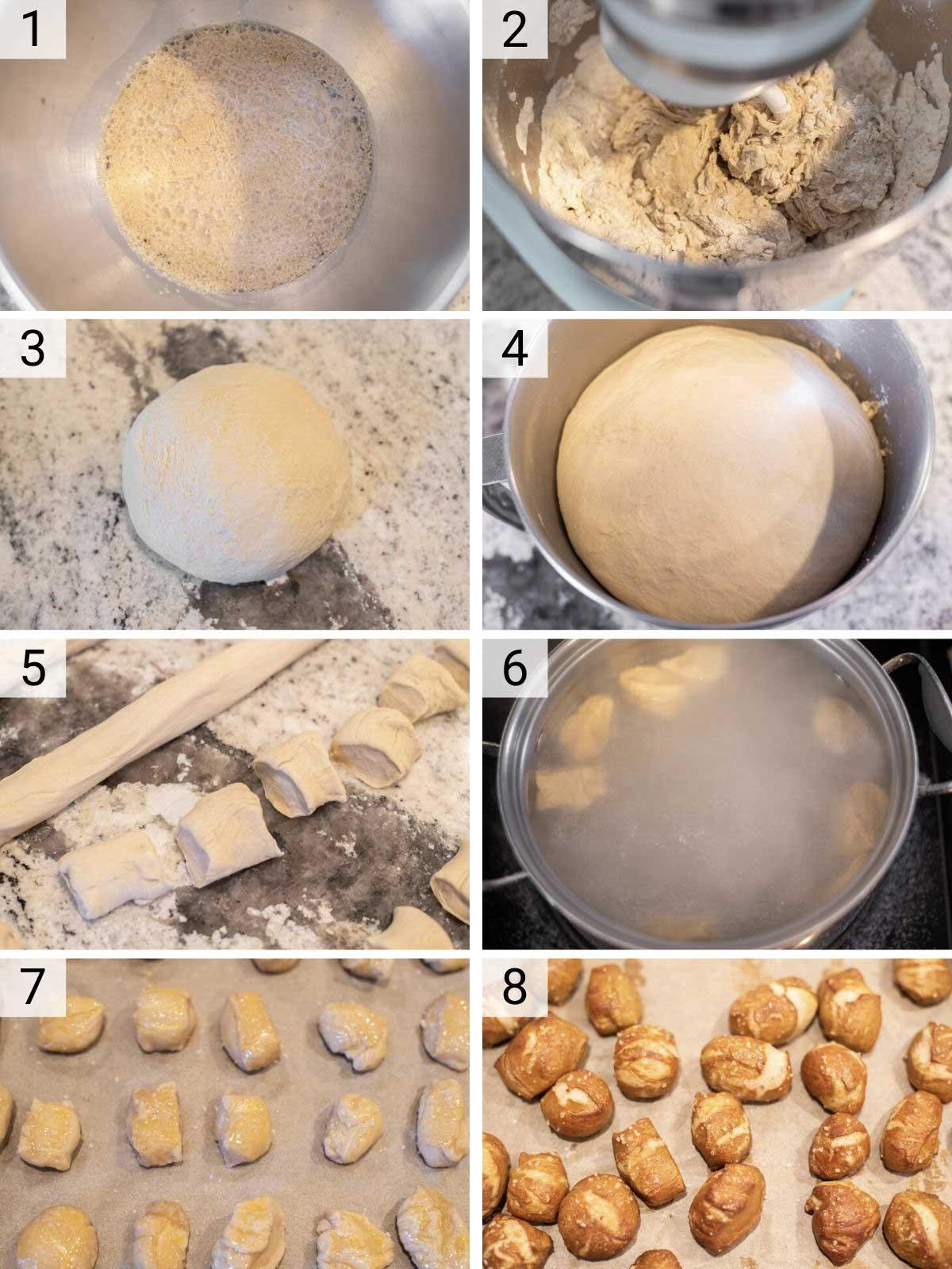 process shots of how to make pretzel bites