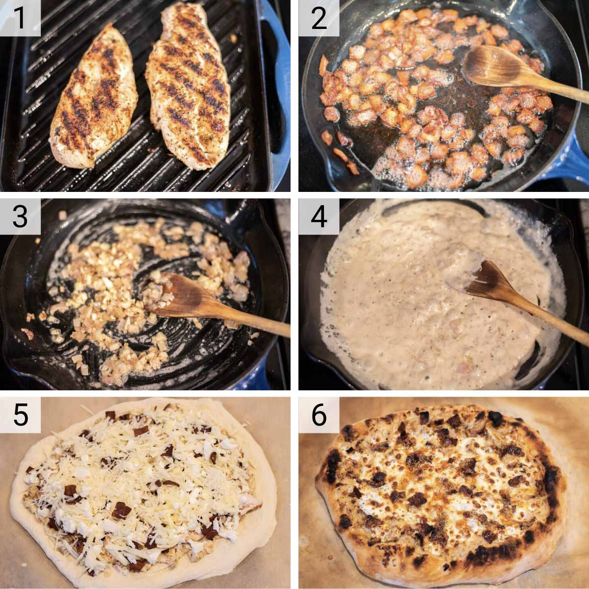 process shots of how to make chicken and bacon pizza