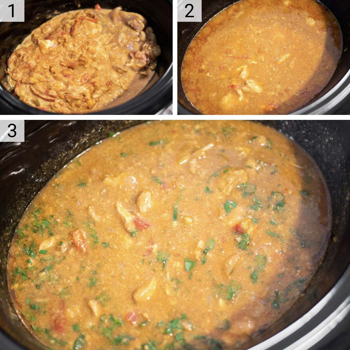 process shots of how to make coconut curry chicken in slow cooker