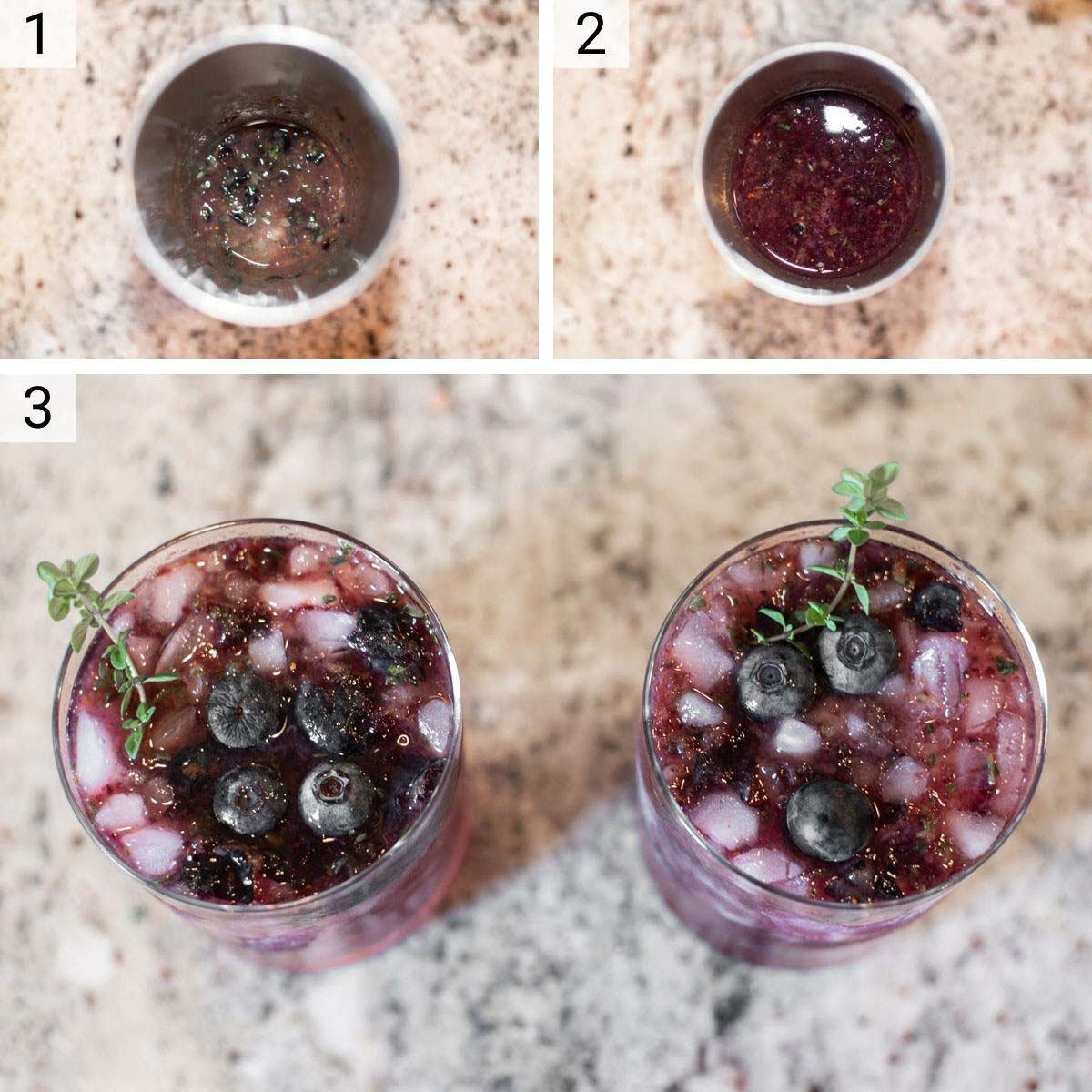 process shots of how to make blueberry smash