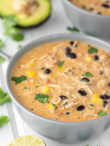 chicken enchilada soup in gray bowl