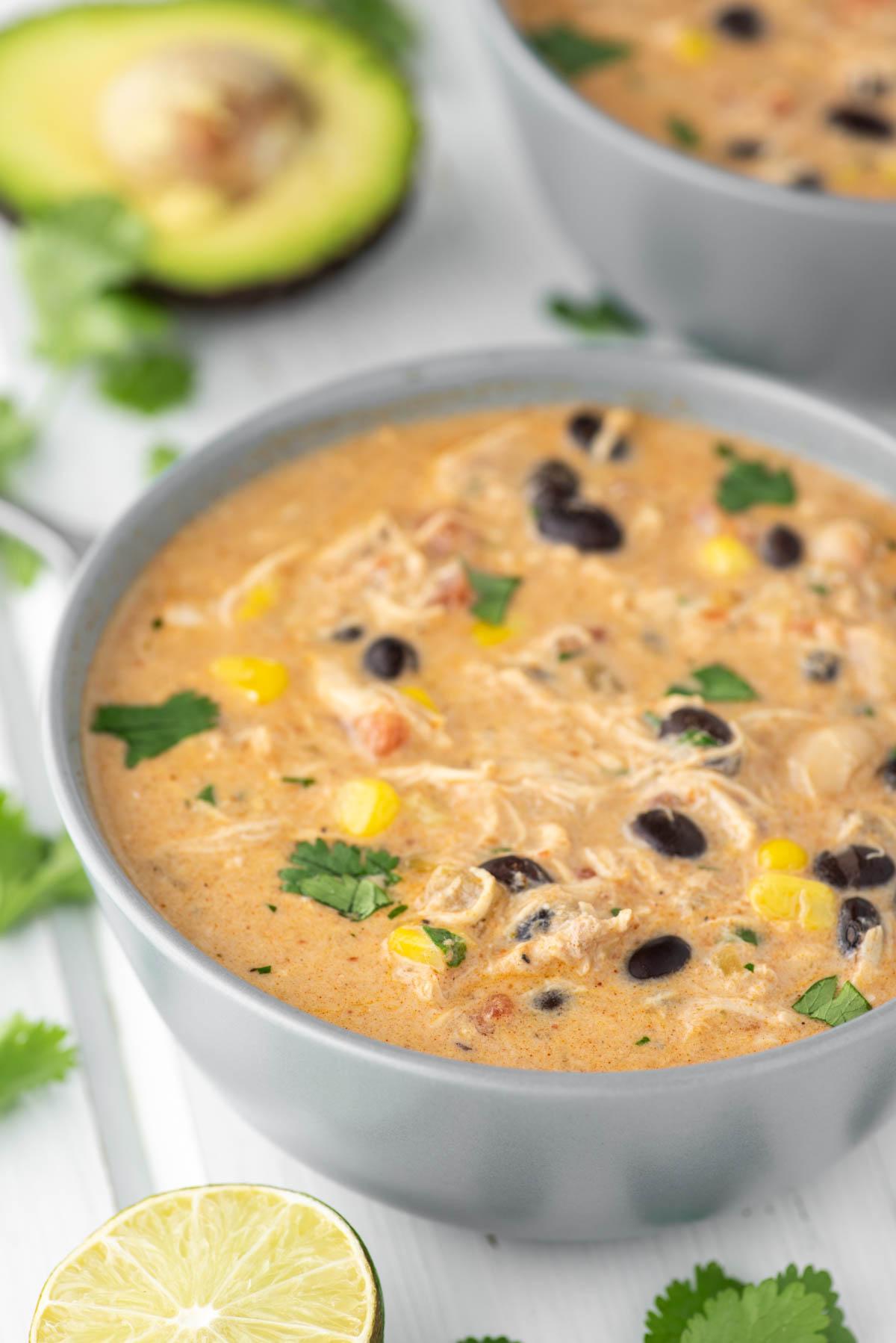 chicken enchilada soup in gray bowl