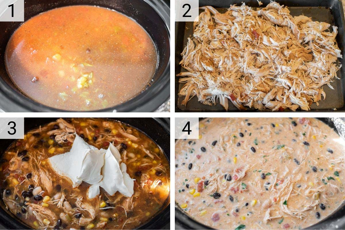process shots of how to make chicken enchilada soup