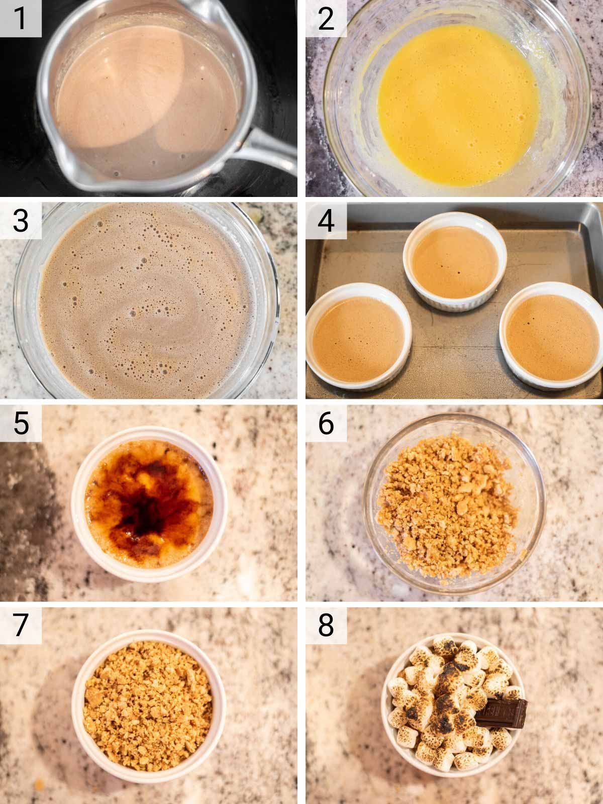 process shots of how to make s'mores crème brûlée