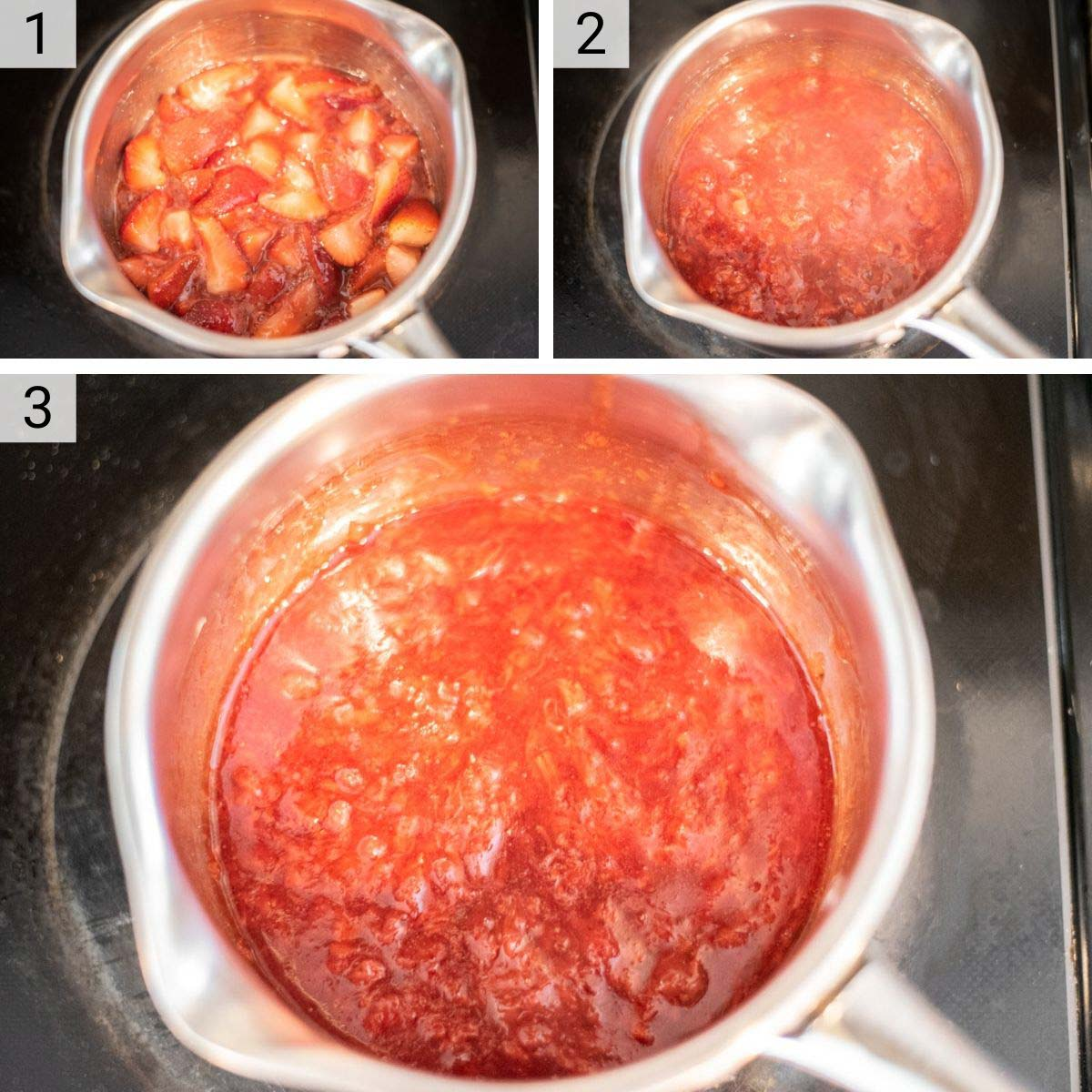 process shots of how to make strawberry jam