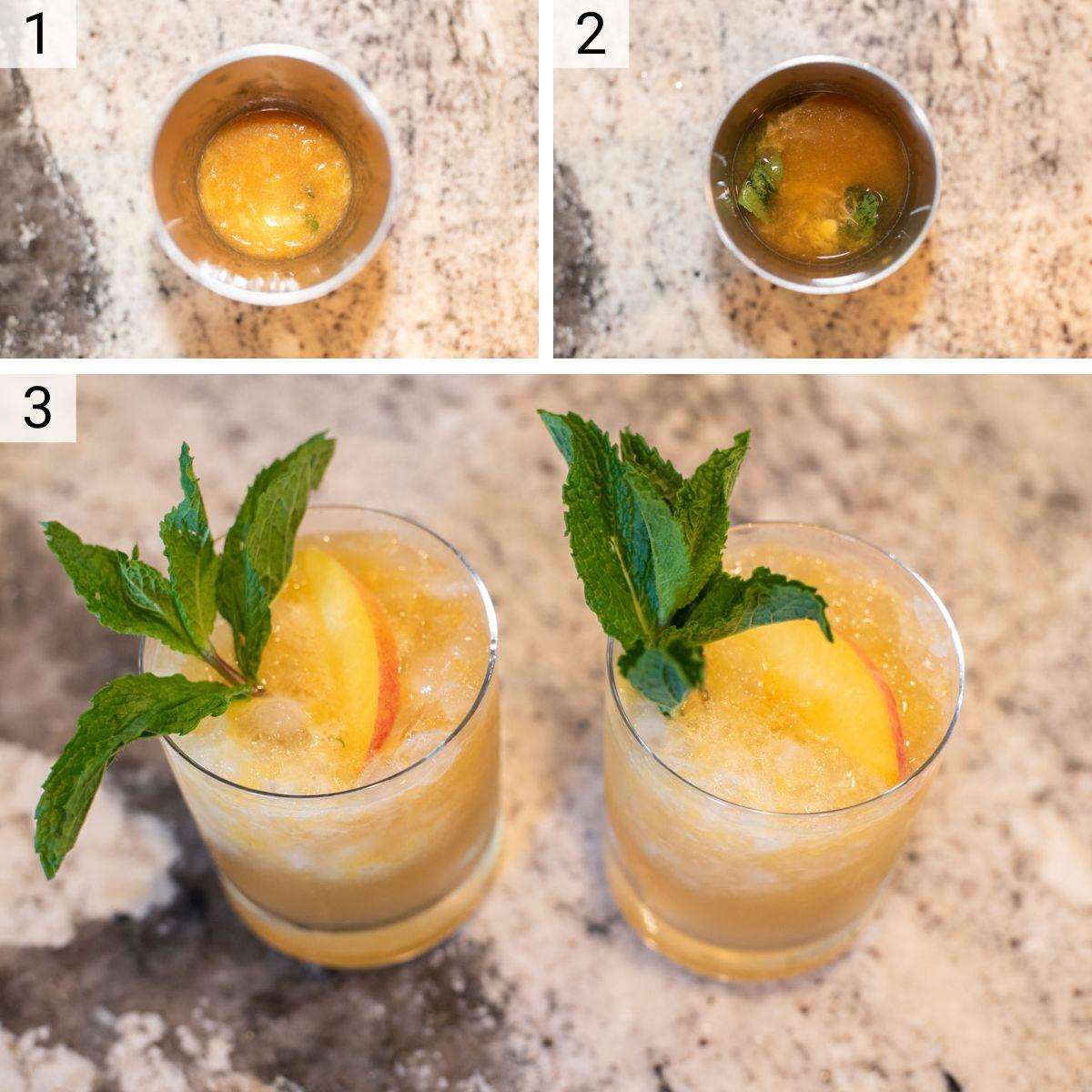 process shots of how to make bourbon peach smash cocktails