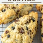 sliced blueberry scones on cooking rack