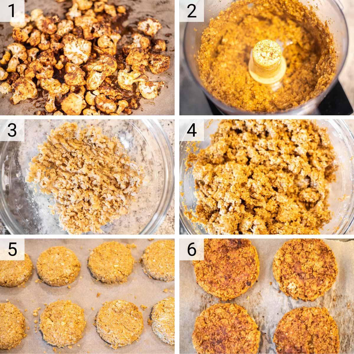 process shots of how to make cauliflower burgers