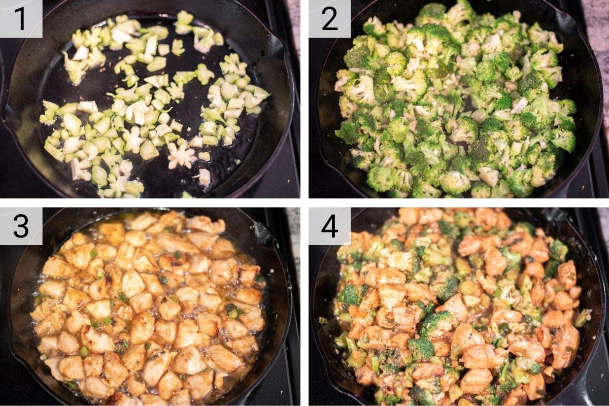 process shots of how to make chicken and broccoli stir fry