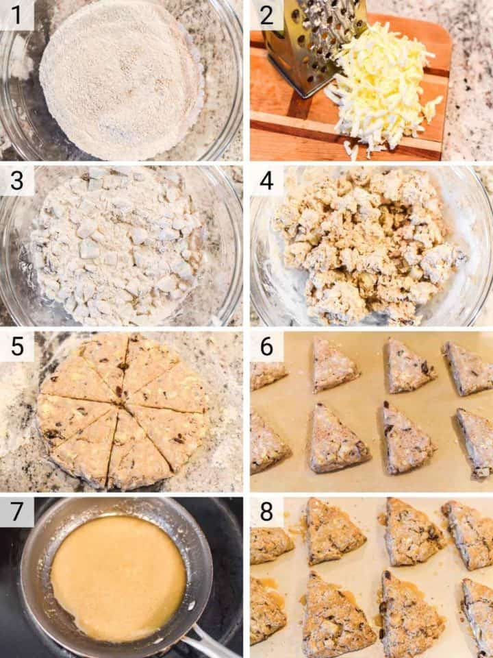 process shots of how to make apple scones