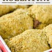 chicken rolled in breadcrumbs in red baking dish