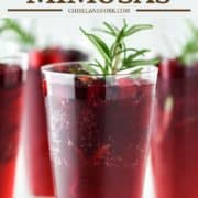 cranberry mimosa with rosemary in champagne flute glass