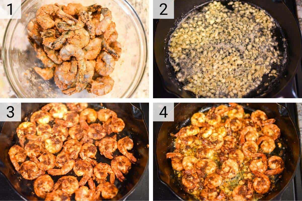 process shots of how to make garlic shrimp (Hawaiian-style)