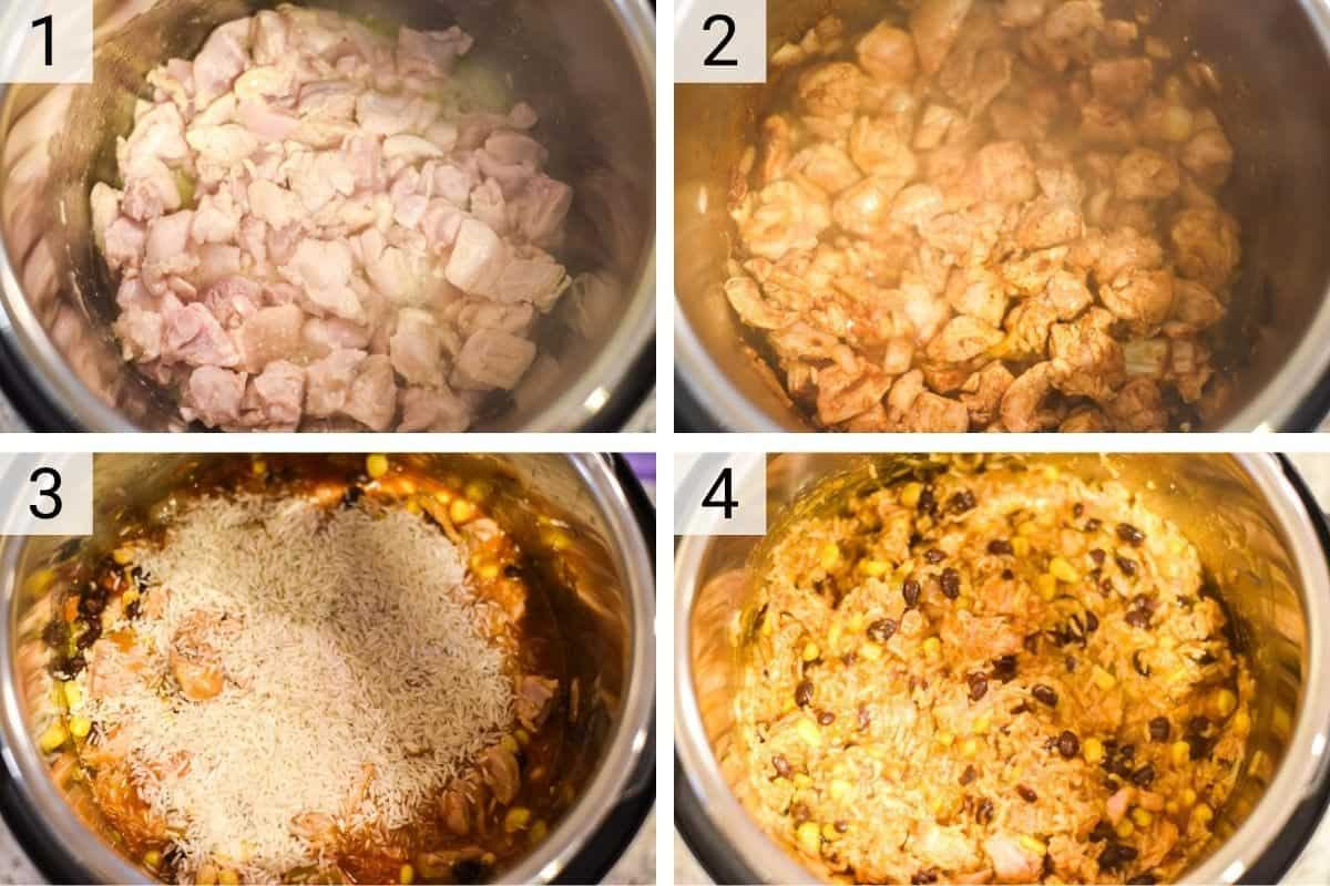process shots of how to make chicken burrito bowl in Instant Pot