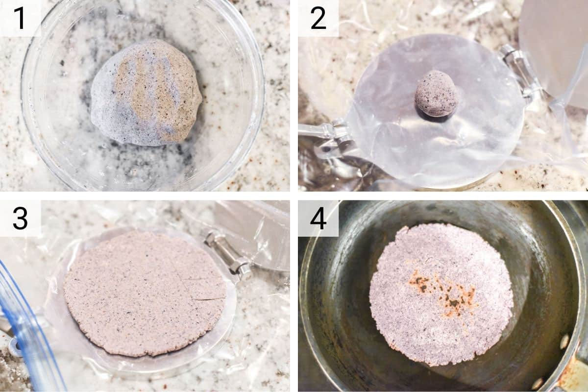 process shots of how to make blue corn tortillas