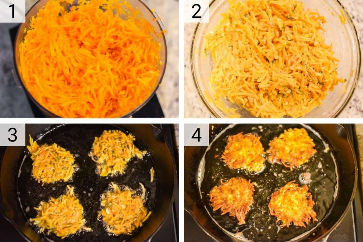 process shots of how to make butternut squash fritters