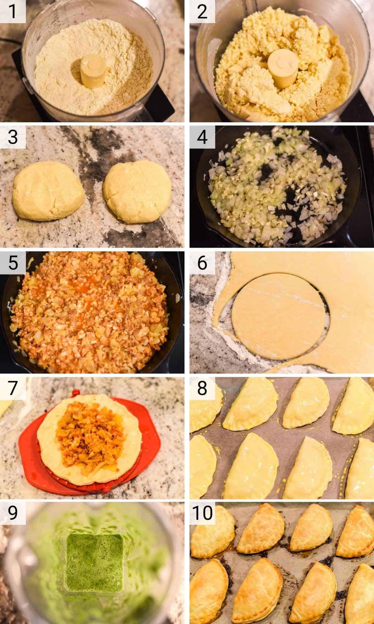 process shots of how to make empanadas with shrimp and chorizo