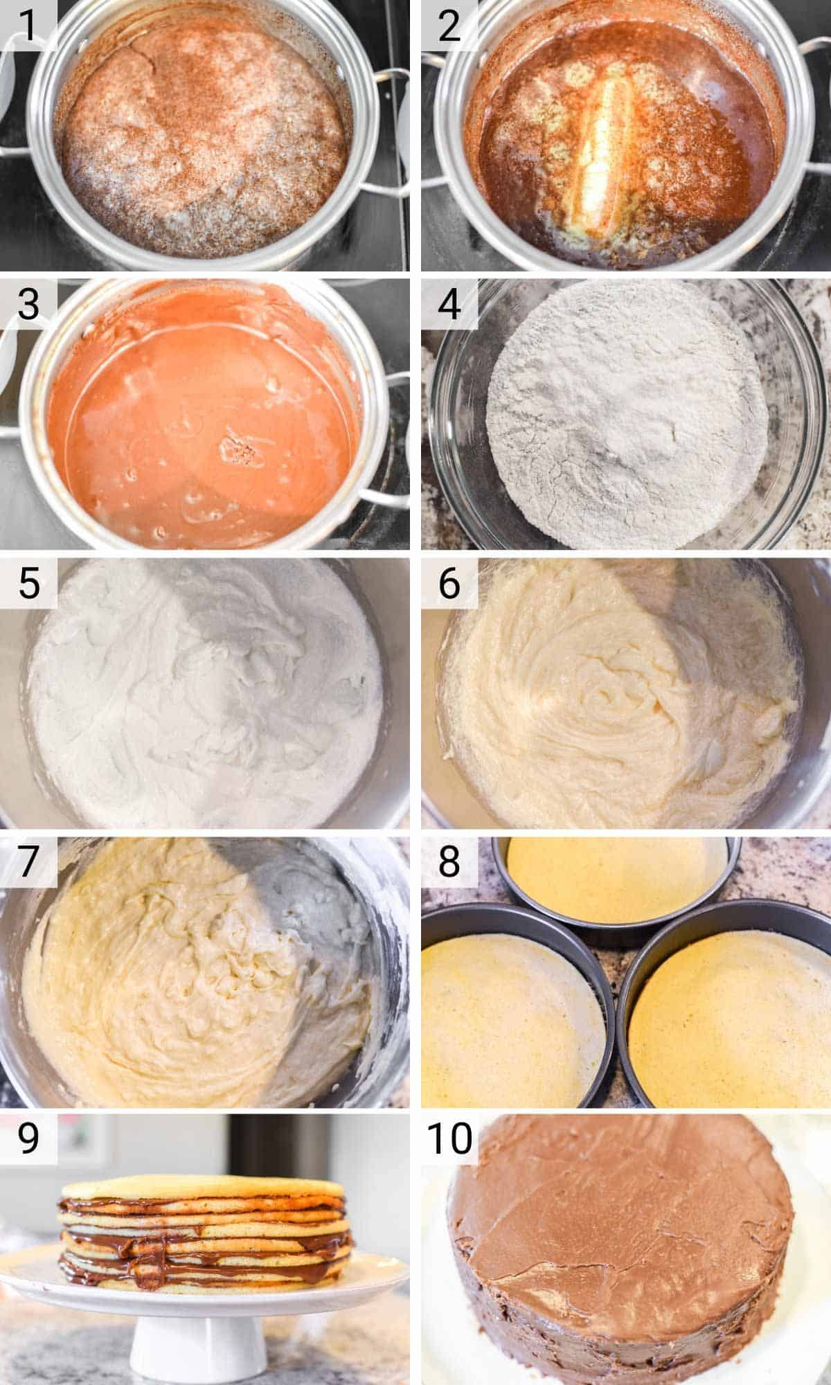 process shots of how to make a Smith Island cake