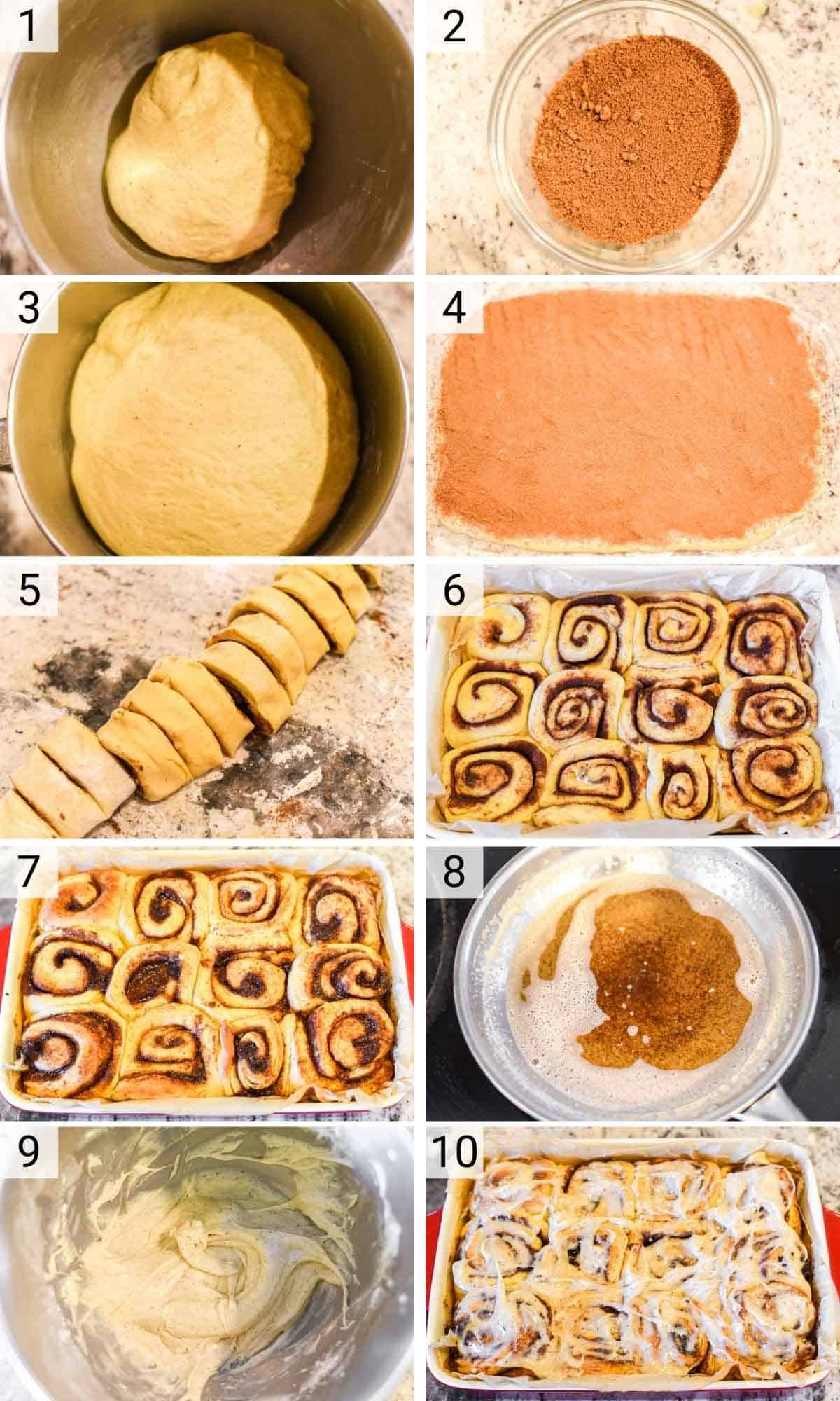 process shots of how to make brioche cinnamon rolls