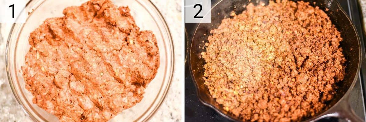 process shots of how to make homemade chorizo