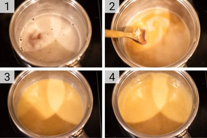 process shots of how to make cheddar cheese fondue