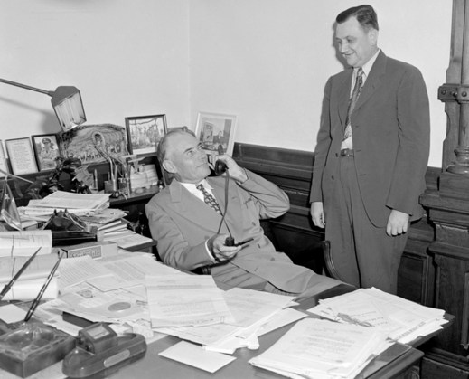 Governor Coke Stevenson and Mr. Graur of SWB Co. talking in office. Austin, Texas.Douglass, Neal. [Gov. Coke Stevenson and Mr. Graur], photograph, September 16, 1946; (https://texashistory.unt.edu/ark:/67531/metapth18970/m1/1/?q=Governor%20Coke%20Stevenson: accessed February 13, 2020), University of North Texas Libraries, The Portal to Texas History, ; crediting Austin History Center, Austin Public Library.