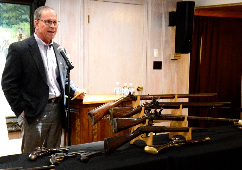 Tom Henderson gives the introduction to the Texas Independence lecture by antique fire arms expert David Jackson at the Bosque Museum Sunday, March 8.