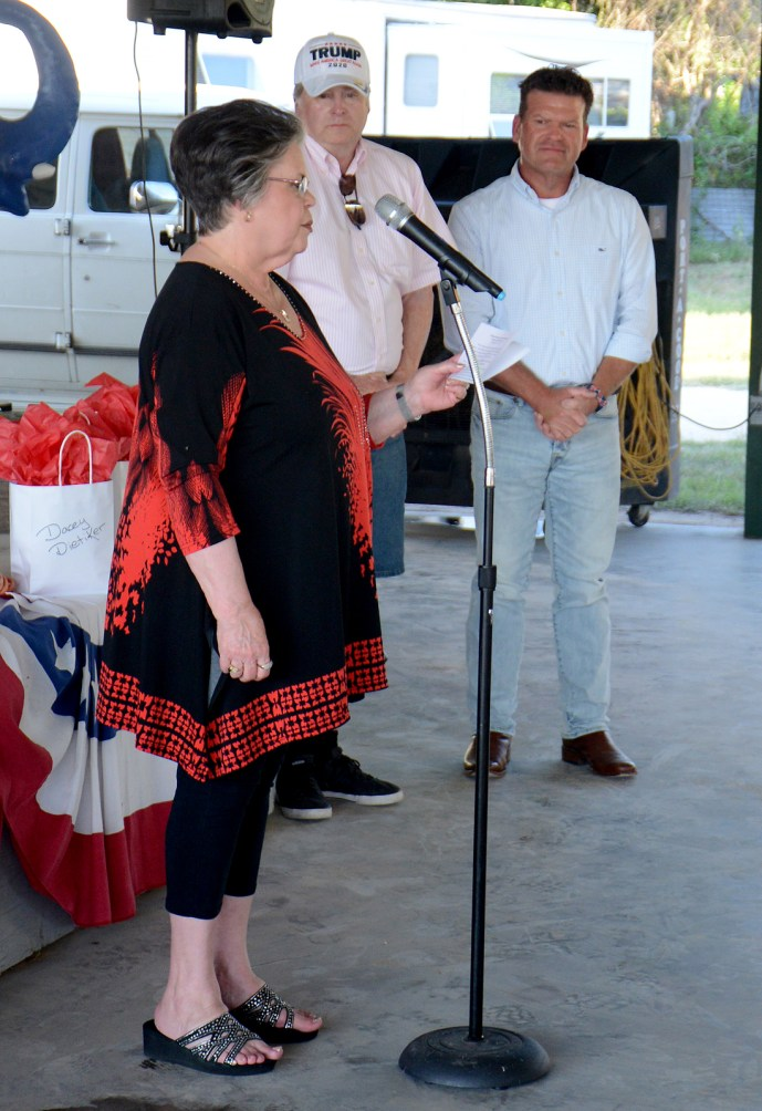 Sue Fielden honors her late husband Sherrod Fielden at the Bosque County Republican Club Party in the Park event June 16