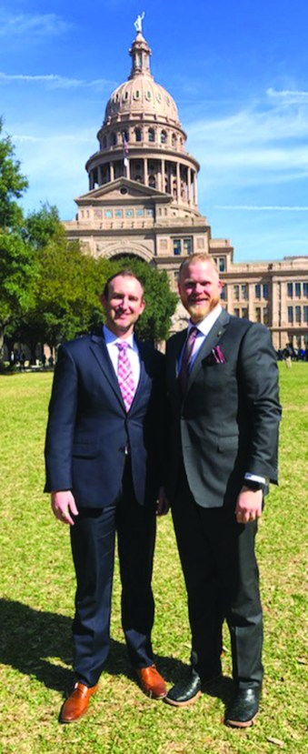 Director of Rural Clinics Colt Hatcher with President & CEO Adam Willmann at the Capitol in Austin.