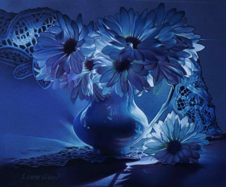 Rhapsody in Blue by Linda Lucas Hardy is one of the selected art works in the Drawing division for the 2020 Bosque Arts Center Art Classic.